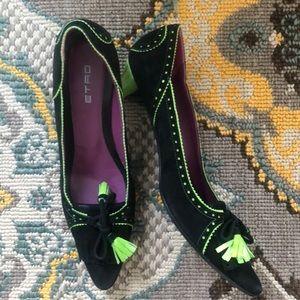 ETRO Italian Black suede wicked heart heels 36
